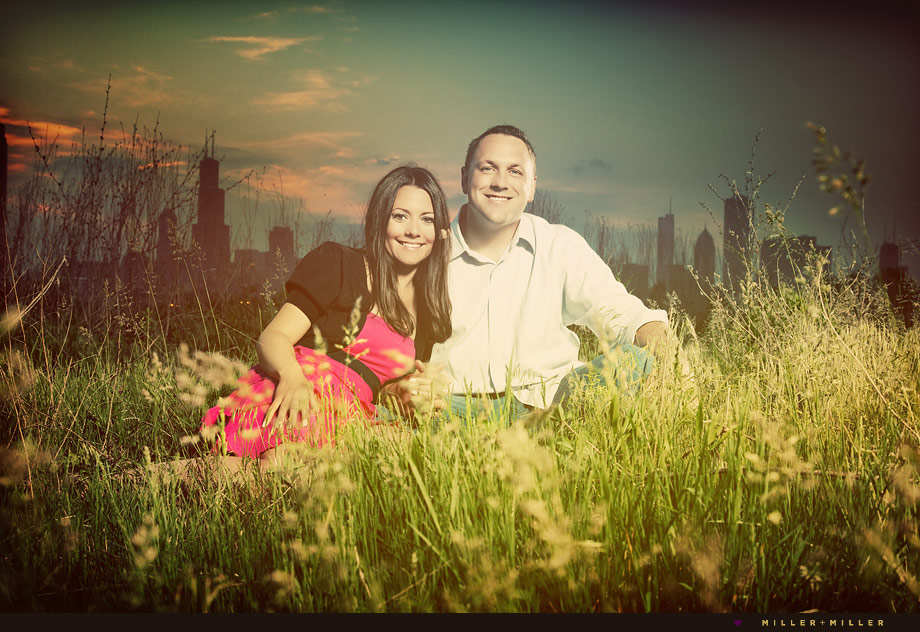 chicago night engagement photographer tall grass