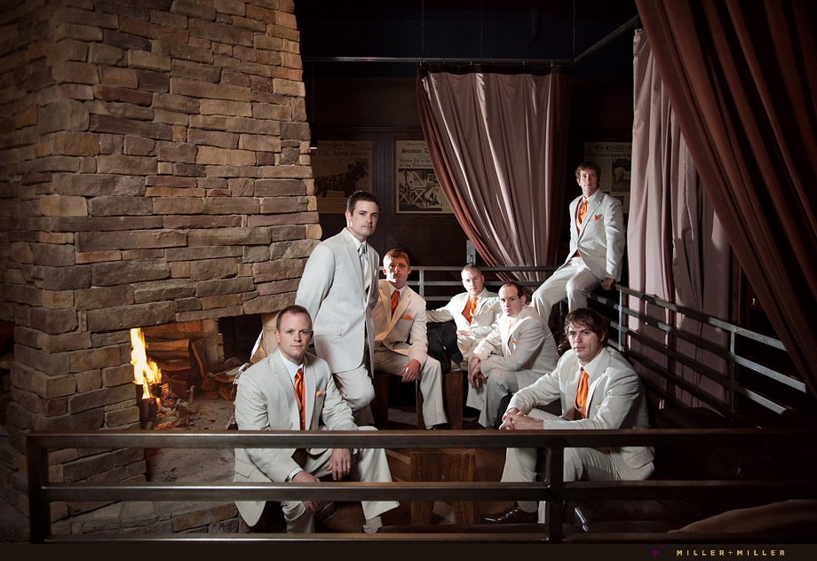 groomsmen tan suits fall wedding photos fireplace
