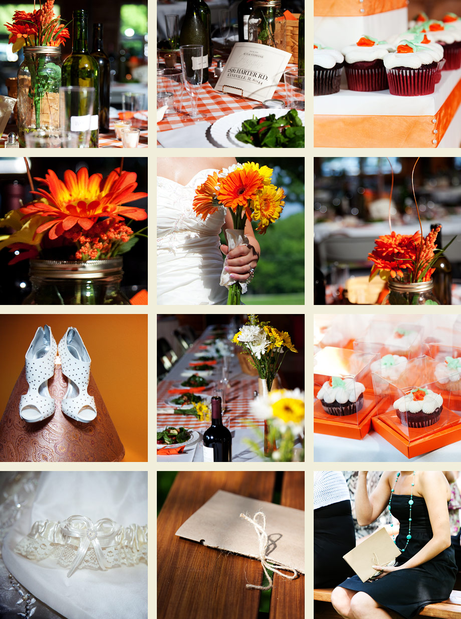 illinois picnic wedding detail photos cupcakes gerber daisies orange