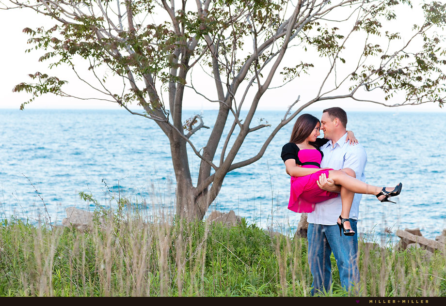 lake michigan romantic engagement images