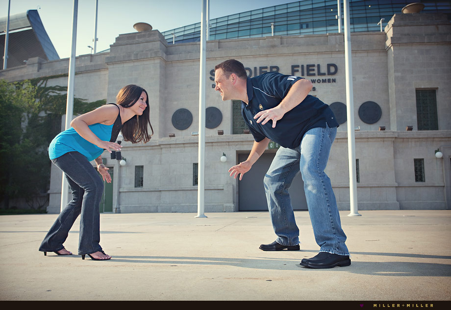 soldier field fun chicago engagement photos