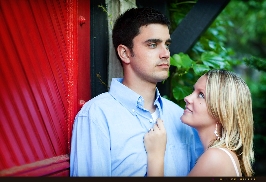 unique Chicagoland engagement photographer red door