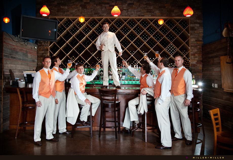 winery wedding pictures groomsmen illinois
