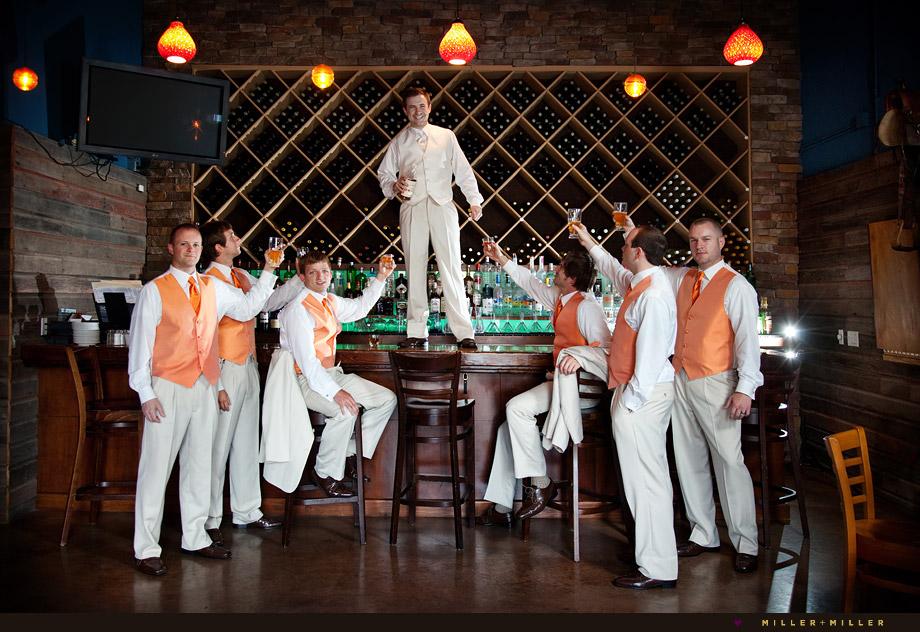 winery wedding pictures groomsmen illinois
