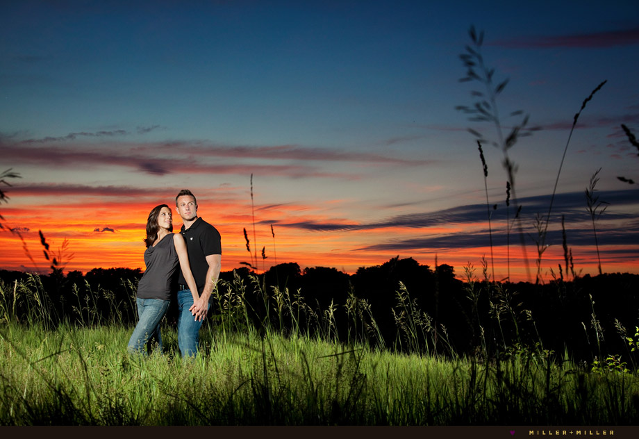artistic starved rock sunset engagement photo