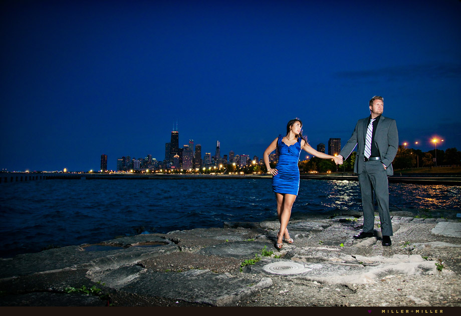 awesome Chicago skyline night engagement photographer