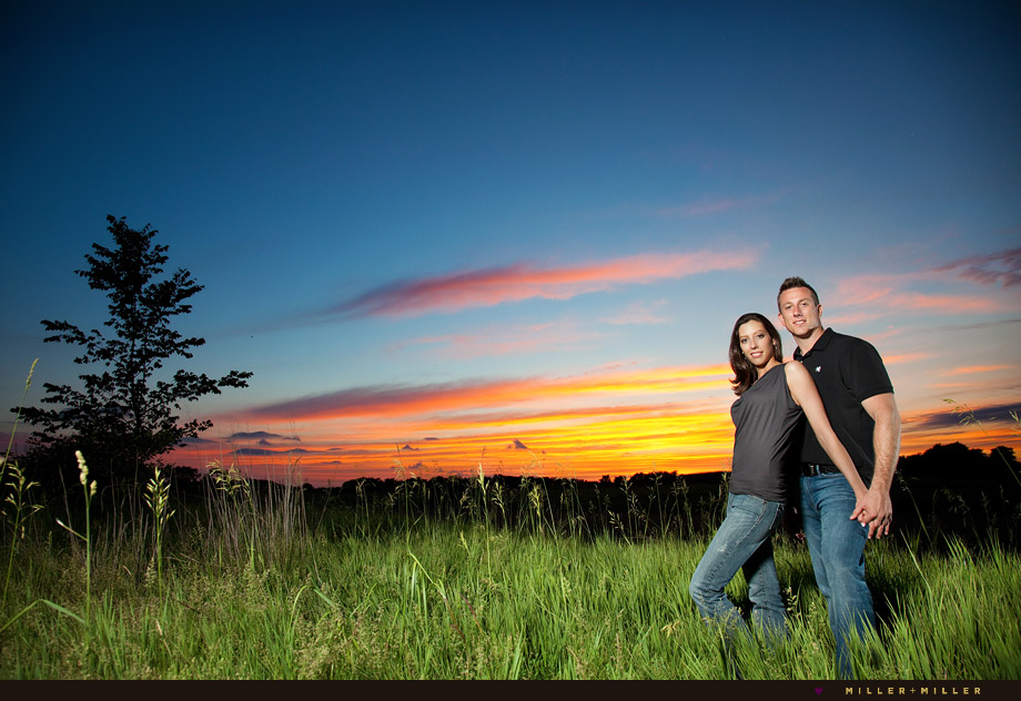 colorful sunset engagement photography