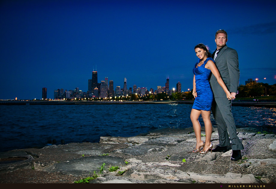 fashionable engagement images Chicago skyline