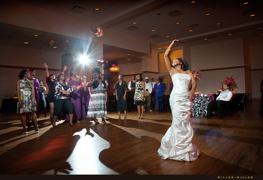 modern wedding bouquet toss