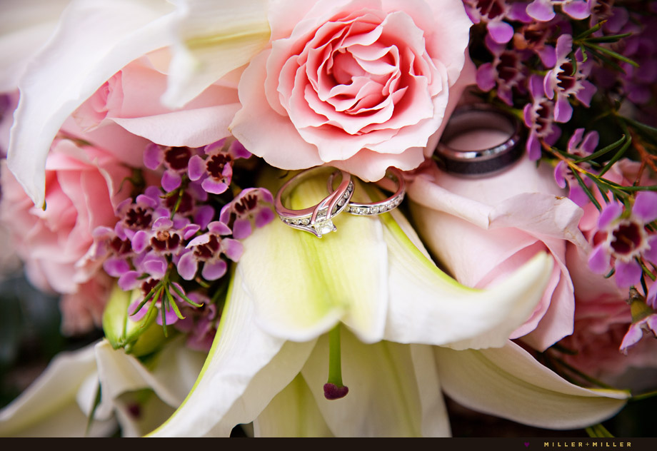 pink flower bouquet wedding rings