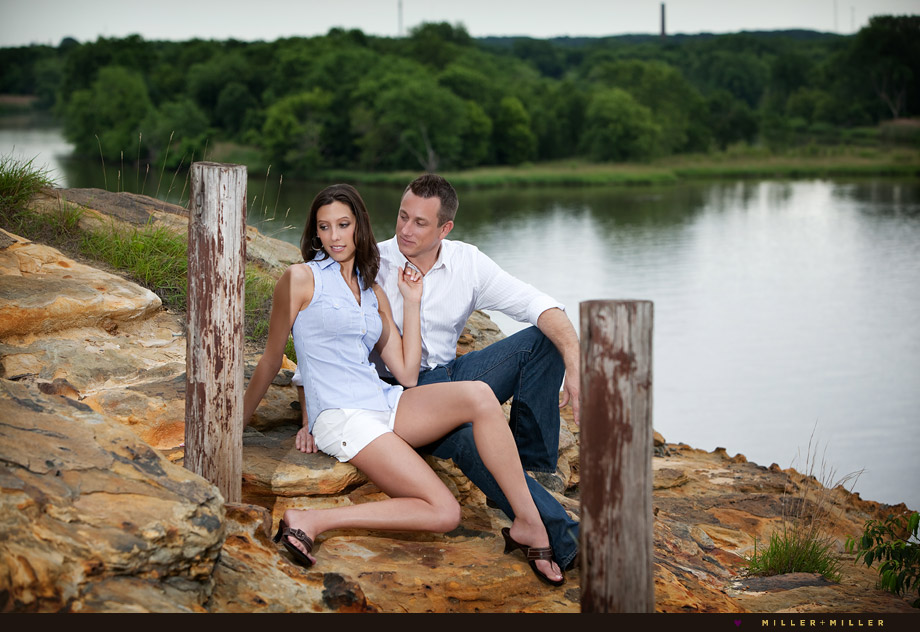 romantic engagement images river