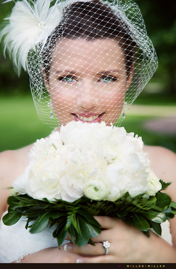 stunning chicago bride photo birdcage veil