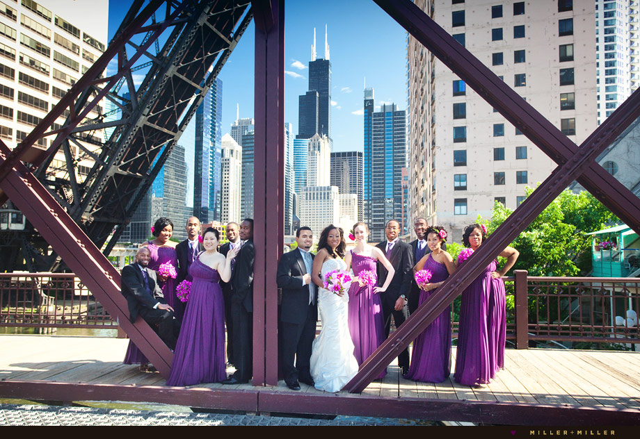 wedding party on bridge images