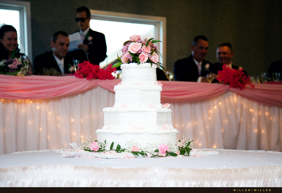 white wedding cake pink flowers