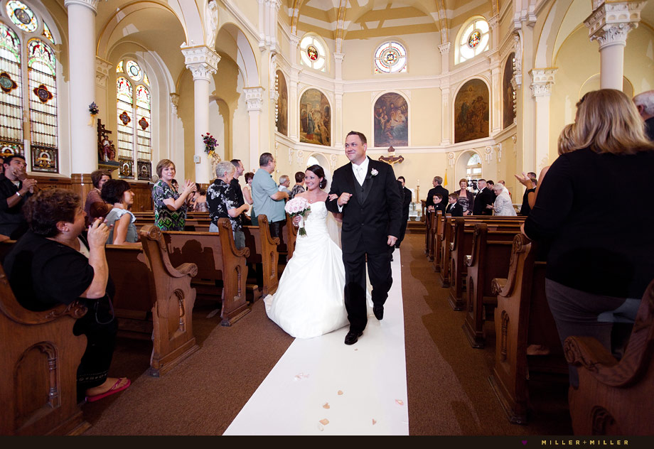 Chicago church aisle wedding ceremony