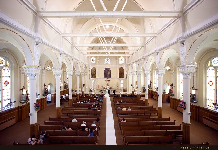 Chicago church ceiling arches wedding photo