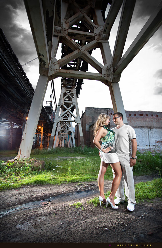 Chicago l train tracks engagement