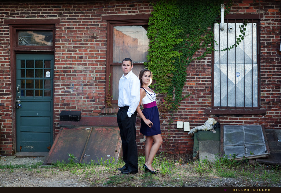 ivy wall edgy engagement photography