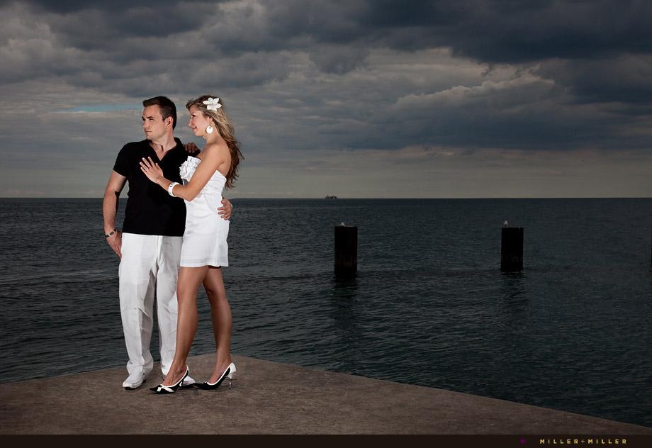 Lake Michigan Chicago beach pier engagement