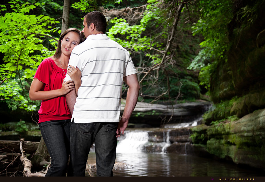 nature waterfall engagement portraits