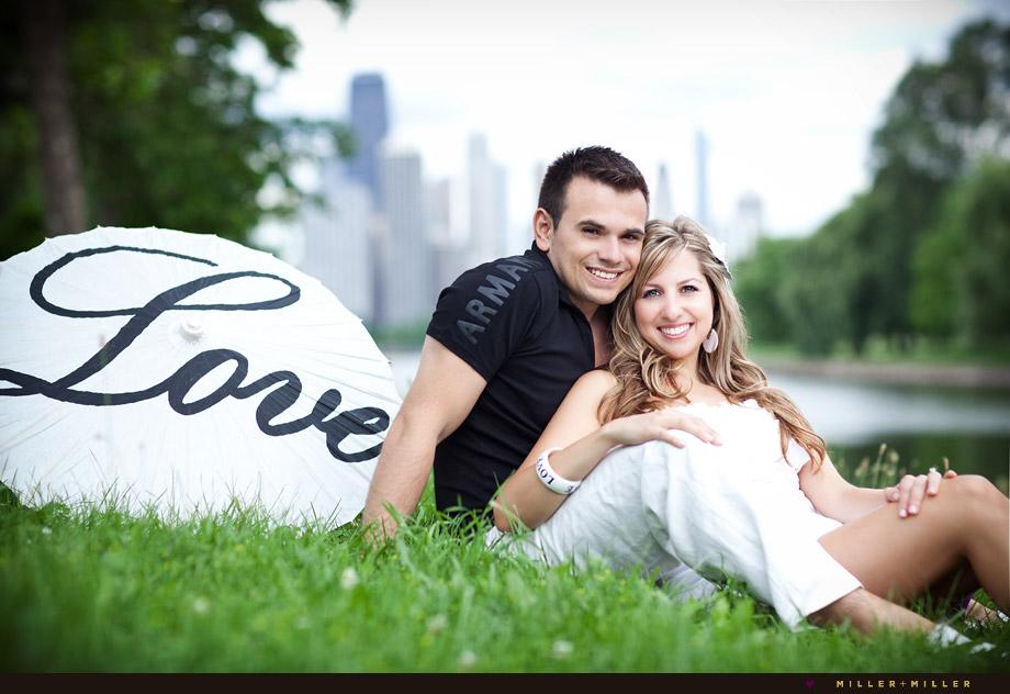 romantic Chicago engagement portrait