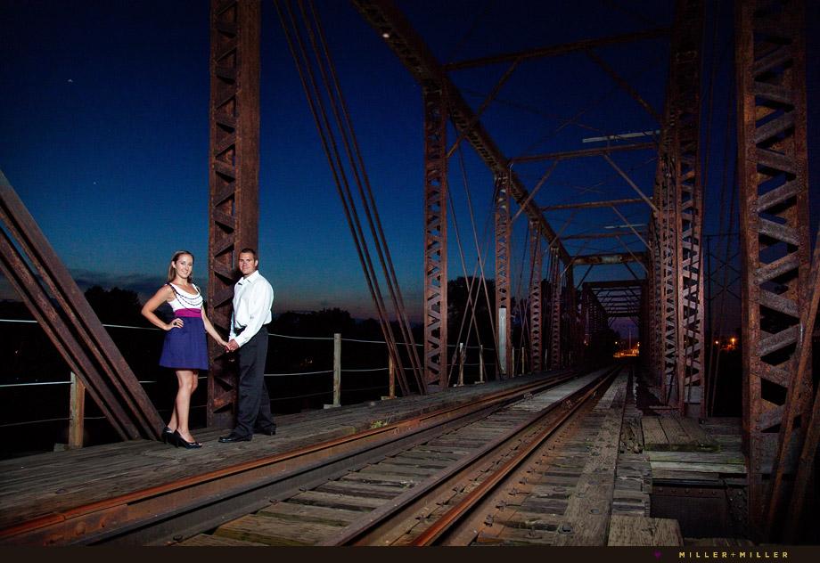 train bridge engagement photography