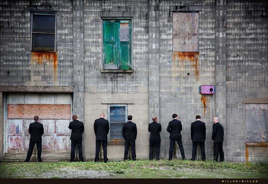 urban wall wedding photos groomsmen