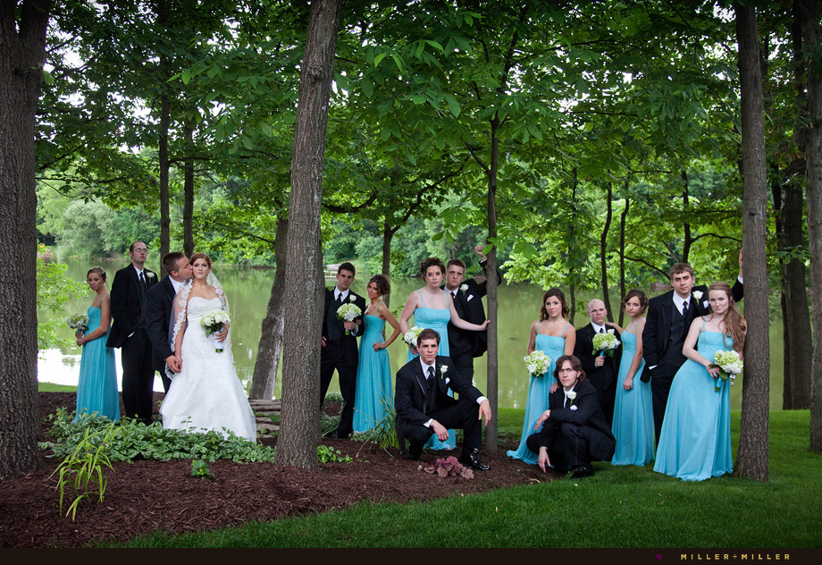 Wedding Party Photo Trees Lake