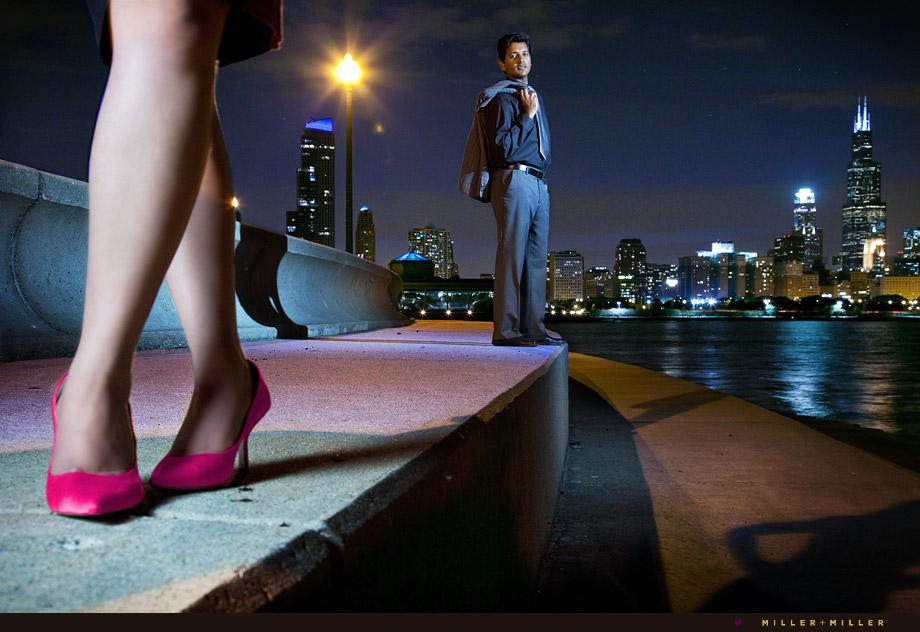 chicago night engagement photos