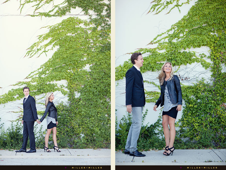 fashionable engagement pictures ivy wall
