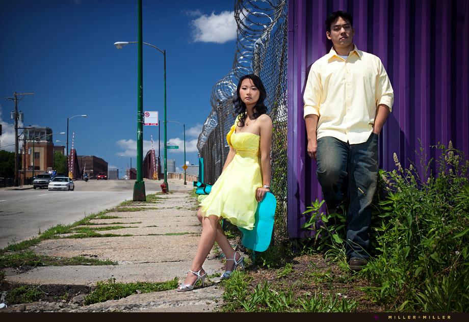 high-fashion Chicago engagement fence