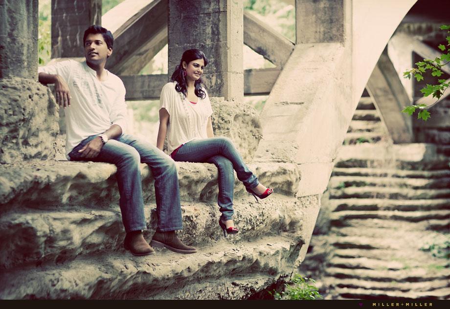 illinois cement bridge engagement photos