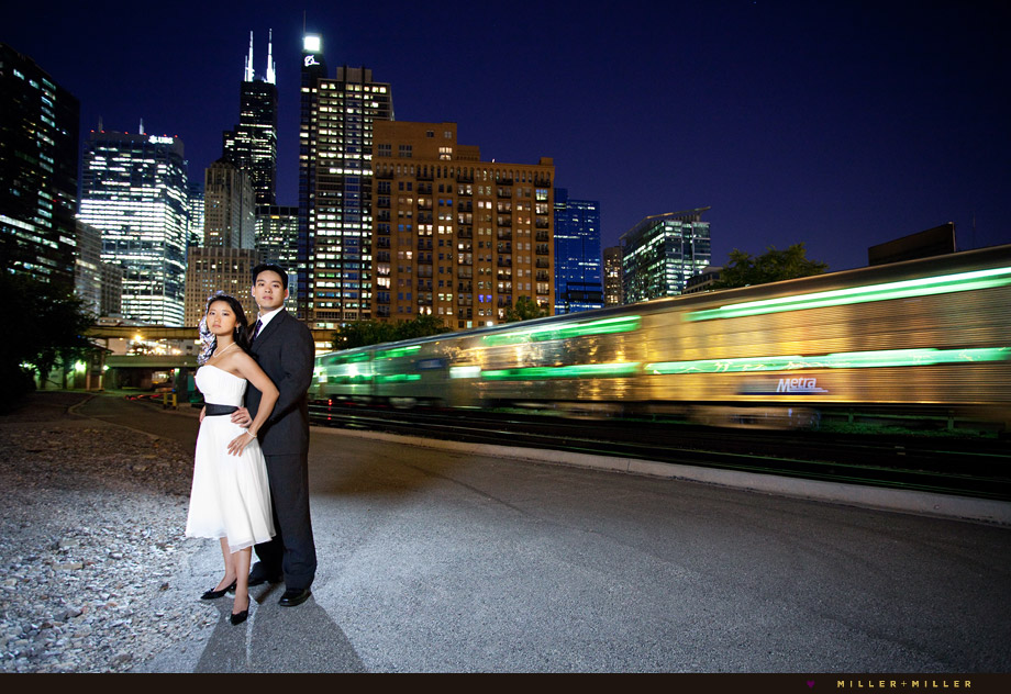 night chicago skyline train