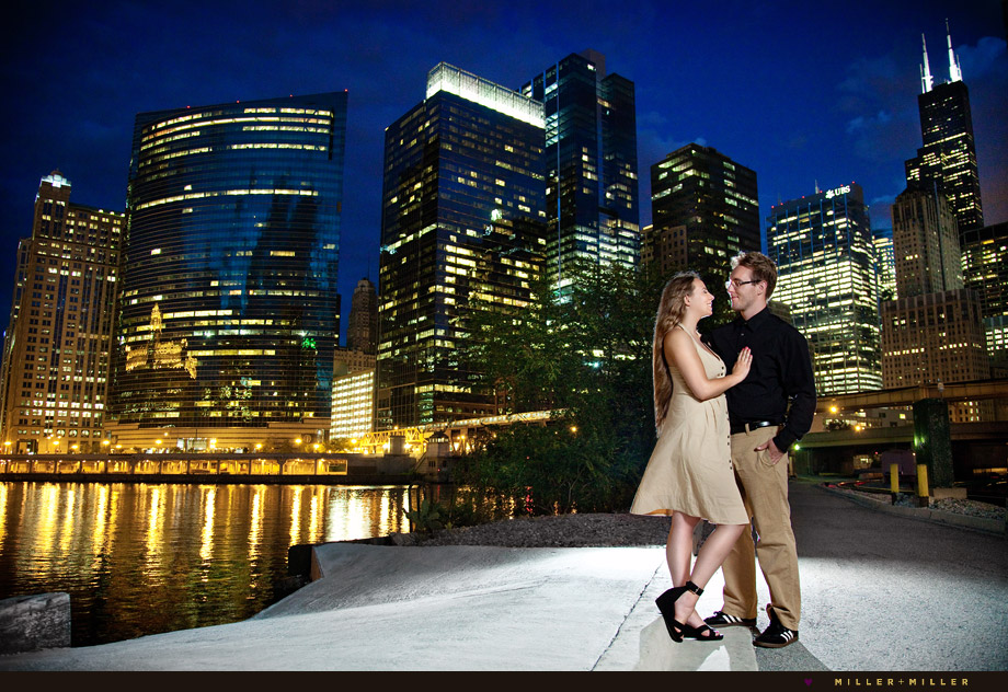 chicago portrait at night city skyline