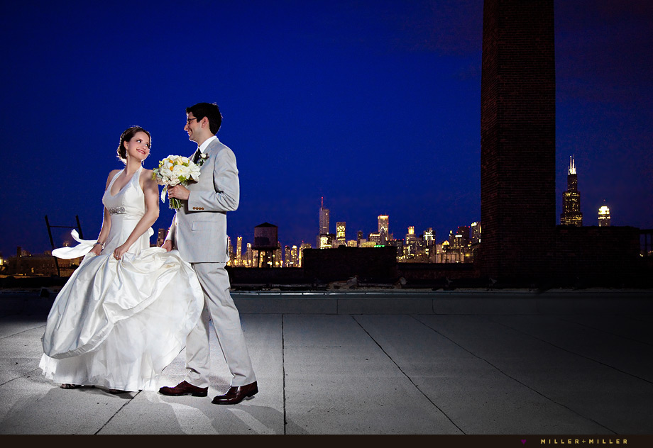 chicago skyline night wedding photo