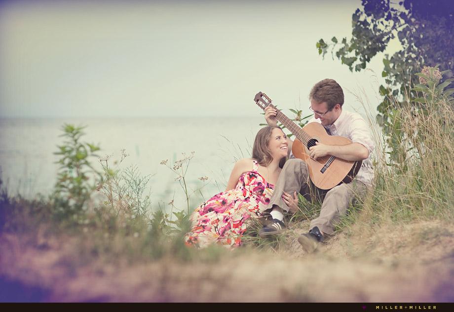guitar engagement portraits lake michigan