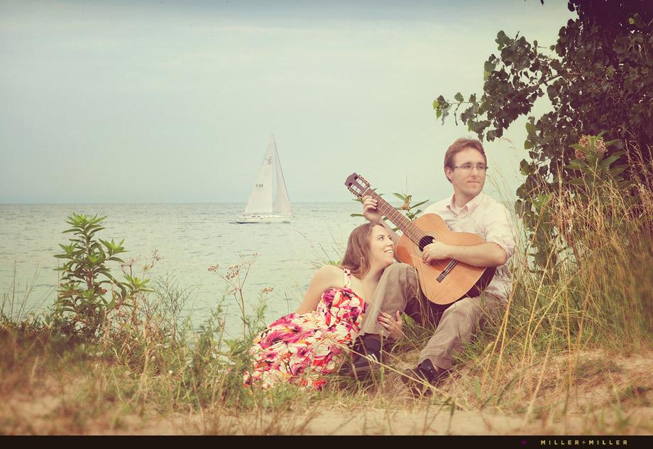 lake michigan beach portraits sail boat guitar