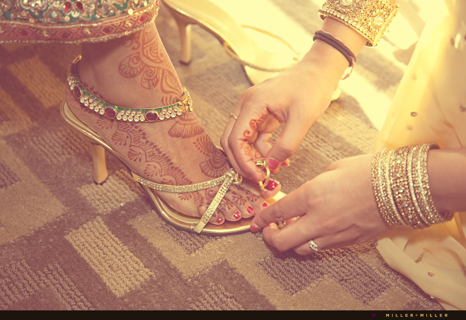 gold shoes henna feet