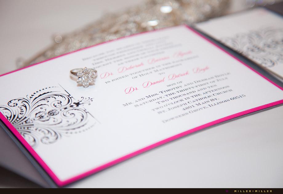 oak brook chicago doctors wedding invitation