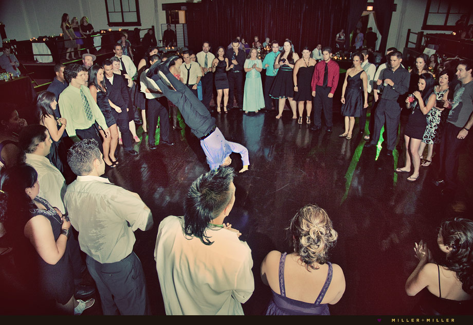 wedding guests breakdancing