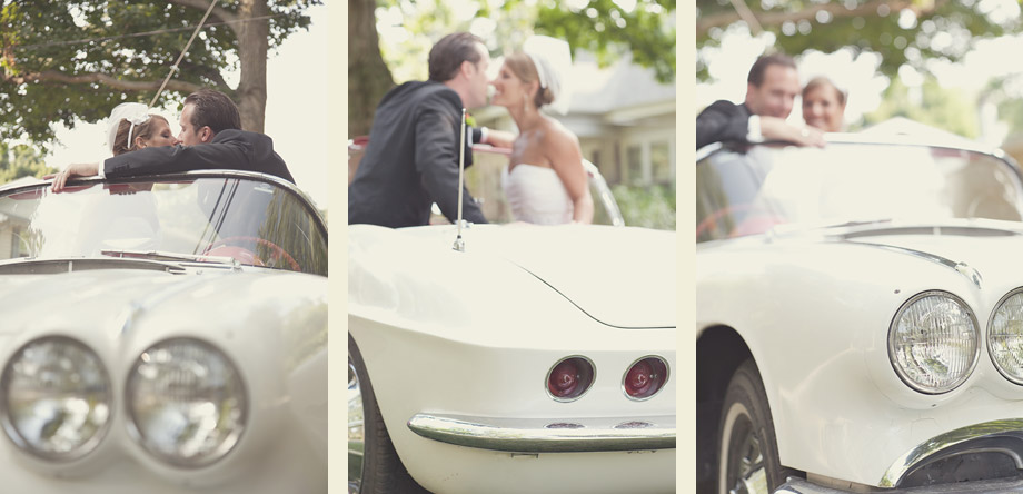60's vintage corvette wedding couple