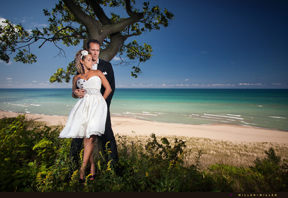 amazing dramatic wedding photography michigan beach