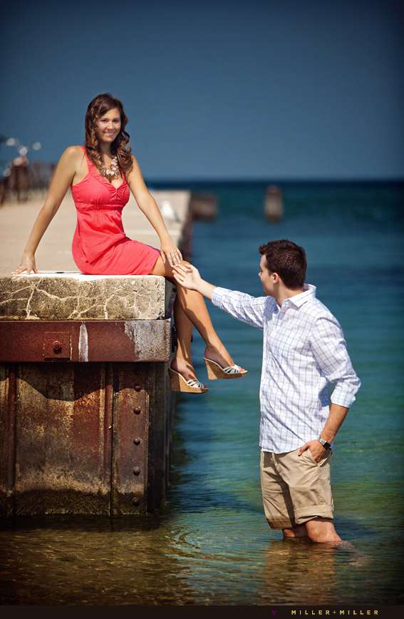 chicago beach pier engagement