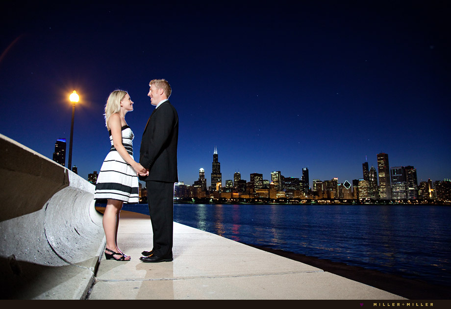 chicago harbor engagement night skyline