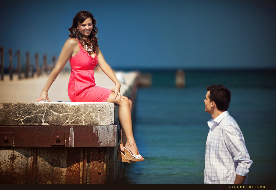 chicago pier engagement
