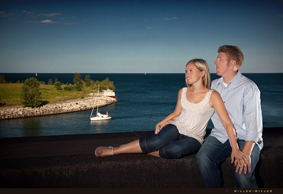 private charter boat harbor engagement photos