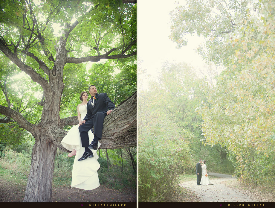 artistic wedding photos in the woods forest il