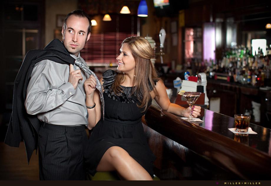 bar restaurant engagement photo shoot Illinois