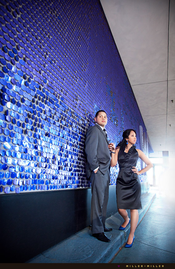 bright blue colorful wall engagement