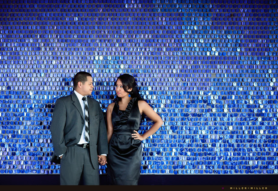 chicago engagement photographer colorful wall